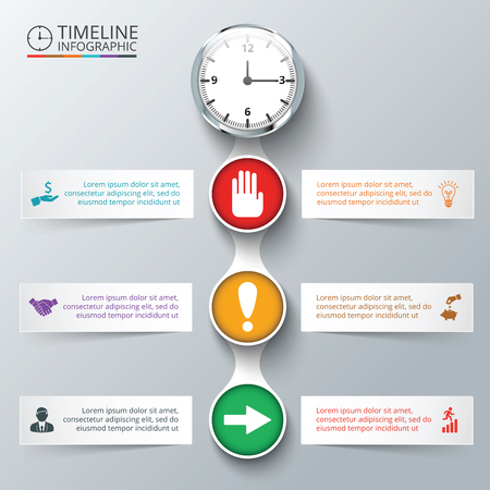 stop and go light: Vector elements with watch for timeline infographic. Template for diagram, graph, presentation and chart. Business concept with 6 options, parts, steps or processes. Abstract background. Stock Photo