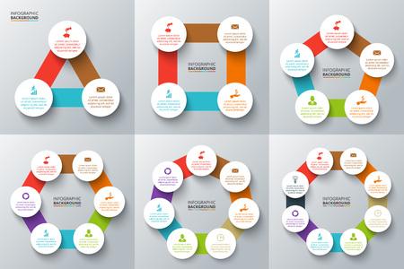 Vector driehoek, vierkant, vijfhoek en andere geometrische vormen met cirkels voor infographic. Sjabloon voor cyclus diagram, grafiek. Concept met 3, 4, 5, 6, 7 en 8 opties, delen, stappen.