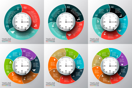 6 7: Vector circles elements set with watch for timeline infographic. Template for diagram, graph, presentation and chart. Business concept with 3, 4, 5, 6, 7, 8 options, parts, steps or processes. Stock Photo