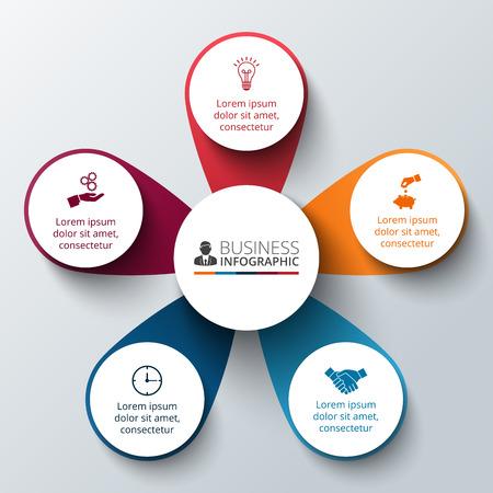 diagrama: Vector círculo infografía. Plantilla para el diagrama del ciclo, gráfico, la presentación y el gráfico ronda. Concepto de negocio con 5 opciones, partes, etapas o procesos. La visualización de datos.