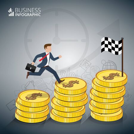 stairs: Businessman stepping up the stairs of gold coins, carrying briefcase. Business growth step infographics option. Template for presentation and workflow layout. Abstract background.