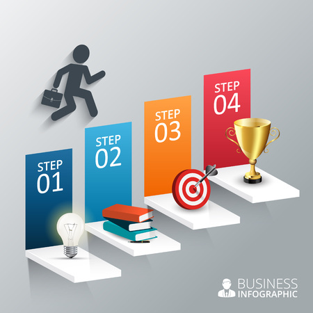 cup four: Vector illustration of the four steps to success with lightbulb, books, pen, target and the trophy cup. Can be used for infographic, banner, diagram, step up options.