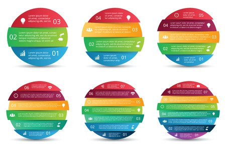 6 7: Vector set of circles for infographics. Template for diagram, graph, presentation and chart. Business concept with 3, 4, 5, 6, 7 and 8 options, parts, steps or processes. Abstract background.