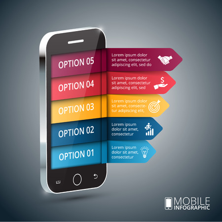 mobile business: Vector isometric mobile for infographic. Template for diagram, graph, presentation and chart. Business concept with 5 options, parts, steps or processes. Abstract background. Stock Photo