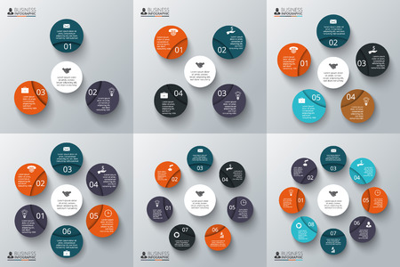 projects: Vector set of circles for infographics. Template for cycle diagram, graph, presentation and round chart. Business concept with 3, 4, 5, 6, 7 and 8 options, parts, steps or processes.