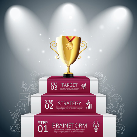 step by step: Vector illustration of 3 steps to success with red carpet and trophy cup. Can be used for infographic, banner, diagram, step up options.