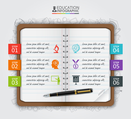 school book: Vector note education infographic. Template for diagram, graph, presentation and chart. Business concept with 6 options, parts, steps or processes. Data visualization.