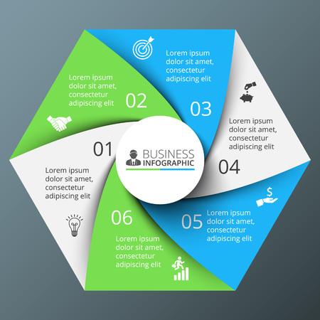 espiral: Vector espiral hexágono de infografía. Plantilla de diagrama de ciclo, gráfico, la presentación y el gráfico ronda. Concepto de negocio con 6 opciones, partes, etapas o procesos. Resumen de antecedentes.