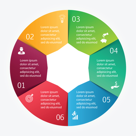 six: Vector circle element for infographic. Template for cycle diagram, graph, presentation and round chart. Business concept with 6 options, parts, steps or processes. Abstract background.
