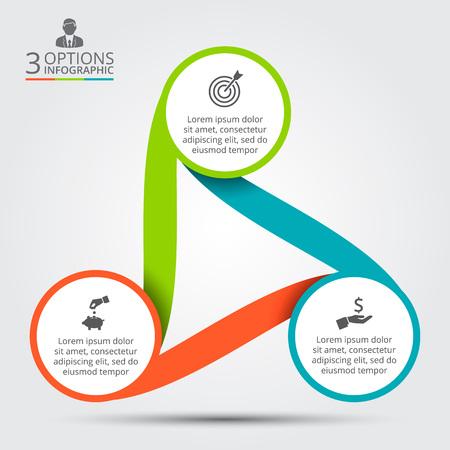 Vector cirkel infographic. Sjabloon voor cyclus diagram, grafiek, presentatie en rond grafiek. Zakelijk concept met 3 opties, delen, stappen of processen. Data visualisatie.