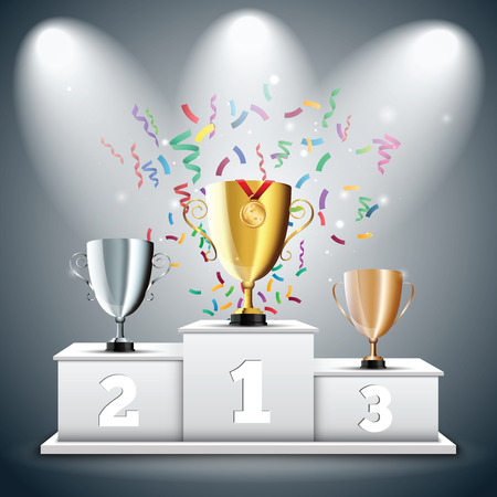 first place: Gold, Silver and Bronze Trophy Cup on prize podium with confetti. First place award. Champions or winners Infographic elements. Vector illustration.