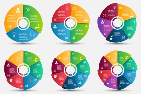 infografica: Vector cerchio elemento con le frecce per infografica. Modello per diagramma ciclo, grafico, presentazione e grafico rotondo. Concetto di affari con 3, 4, 5, 6, 7 e 8 opzioni, parti, passi o processi. Vettoriali