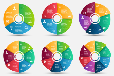color charts: Vector circle element with arrows for infographic. Template for cycle diagram, graph, presentation and round chart. Business concept with 3, 4, 5, 6, 7 and 8 options, parts, steps or processes. Illustration