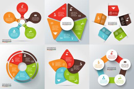 diagrama: Flechas del vector, pentágono, círculos y otros elementos para la infografía. Plantilla de diagrama de ciclo, gráfico, la presentación y el gráfico ronda. Concepto de negocio con 5 opciones, partes, etapas o procesos.