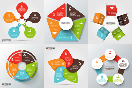 Vector arrows, pentagon, circles and other elements for infographic. Template for cycle diagram, graph, presentation and round chart. Business concept with 5 options, parts, steps or processes.