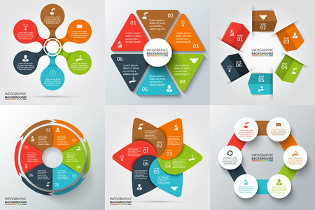 Vector arrows, hexagon, circles and other elements for infographic. Template for cycle diagram, graph, presentation and round chart. Business concept with 6 options, parts, steps or processes.
