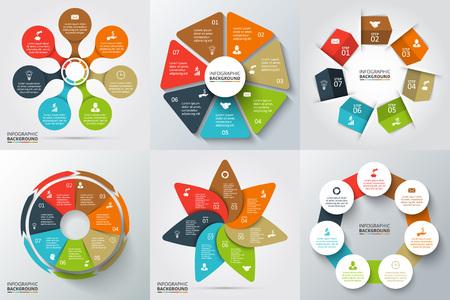 ベクトル矢印、七角形、サークル、インフォ グラフィックの他の要素。サイクル図、グラフ、プレゼンテーションおよび円形グラフのテンプレート 写真素材