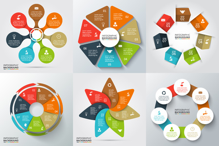heptagon: Vector arrows, heptagon, circles and other elements for infographic. Template for cycle diagram, graph, presentation and round chart. Business concept with 7 options, parts, steps or processes. Stock Photo