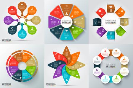 diagrama: Flechas del vector, octágono, círculos y otros elementos para la infografía. Plantilla de diagrama de ciclo, gráfico, la presentación y el gráfico ronda. Concepto de negocio con 6 opciones, partes, etapas o procesos.