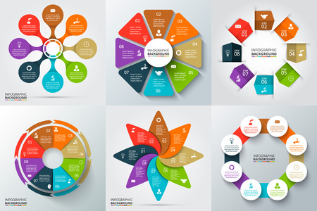 six: Vector arrows, octagon, circles and other elements for infographic. Template for cycle diagram, graph, presentation and round chart. Business concept with 6 options, parts, steps or processes.