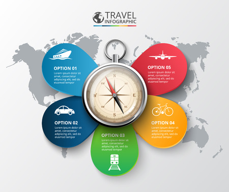 Vector travel infographic with a compass on the map. Template for cycle diagram, graph, presentation and round chart. Business concept with 5 options, parts, steps or processes. Abstract background.