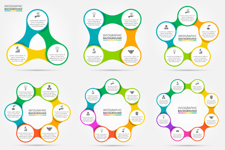 Vector circle infographic. Template for cycle diagram, graph, presentation and round chart. Business concept with 3, 4, 5, 6, 7 and 8 options, parts, steps or processes. Data visualization. Reklamní fotografie - 46044892