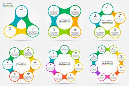 Vector cirkel infographic. Sjabloon voor cyclus diagram, grafiek, presentatie en rond grafiek. Concept met 3, 4, 5, 6, 7 en 8 opties, delen, stappen of werkwijzen. Data visualisatie.