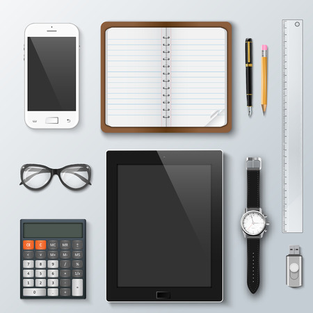 Workplace office and business work elements set. Mobile phone, calculator, notebook, pen, tablet, watches and other office things and equipment, finance and marketing objects, development tools. Illustration