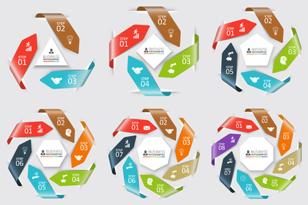Vector circle arrows for infographic. Template for cycle diagram, graph, presentation and round chart. Business concept with 3, 4, 5, 6, 7 and 8 options, parts or steps. Abstract background. Illustration