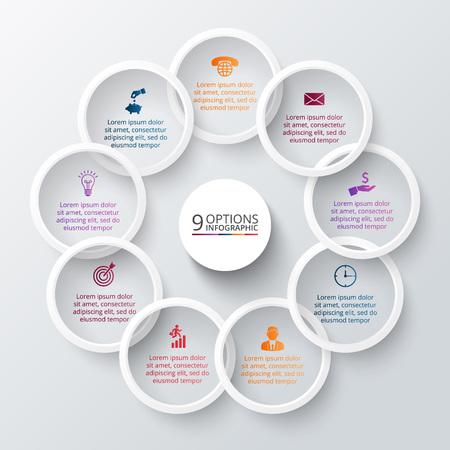 Anillos de vector para la infografía. Plantilla de diagrama de ciclo, gráfico, la presentación y el gráfico ronda. Concepto de negocio con 9 opciones, partes, etapas o procesos. Resumen de antecedentes.