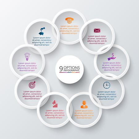 Vector rings for infographic. Template for cycle diagram, graph, presentation and round chart. Business concept with 9 options, parts, steps or processes. Abstract background.