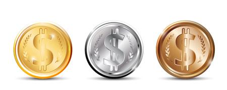金、銀、銅のコイン。ベクトル図