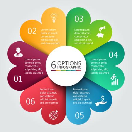 벡터 서클 infographic. 사이클 다이어그램, 그래프, 프레 젠 테이 션 및 라운드 차트 템플릿. 6 옵션, 부품, 단계 또는 프로세스와 비즈니스 개념. 데이터