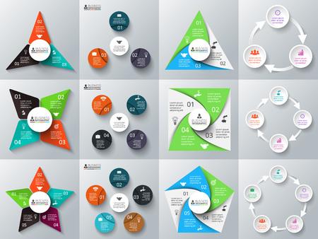 diagrama: Triángulo vector, círculos, estrellas y otros elementos para la infografía. Plantilla de diagrama de ciclo, gráfico, presentación y gráfico. Concepto de negocio con 3, 4 y 5 opciones, partes, etapas o procesos.