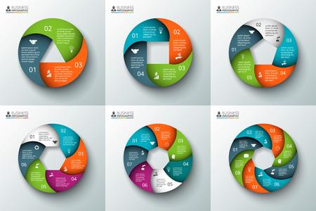 インフォ グラフィックのベクター スパイラル サークル要素です。サイクル図、グラフ、プレゼンテーションおよび円形グラフのテンプレートです  イラスト・ベクター素材