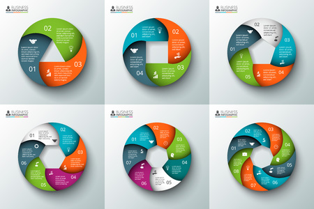 circle: Vector spiral circle element for infographic. Template for cycle diagram, graph, presentation and round chart. Business concept with 3, 4, 5, 6, 7 and 8 options, parts, steps or processes. Illustration
