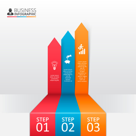 graph icon: arrows for infographic. Template for diagram, graph, presentation and chart. Business concept with options, parts, steps or processes. Abstract background.