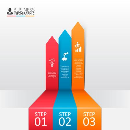 par: setas para infográfico. Molde para o diagrama, gráfico, apresentação e gráfico. Conceito do negócio com opções, partes, etapas ou processos. Fundo abstrato. Ilustração