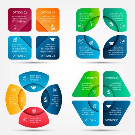 diagrama: elementos para la infograf�a. Plantilla para el diagrama del ciclo, gr�fico, la presentaci�n y el gr�fico ronda. Concepto de negocio con 4 opciones, partes, etapas o procesos. Visualizaci�n de datos.