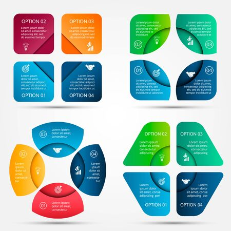 strategy diagram: elements for infographic. Template for cycle diagram, graph, presentation and round chart. Business concept 4 with options, parts, steps or processes. Data visualization.