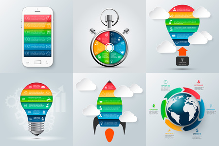mobile phone, rocket, stopwatch, lightbulb and other elements for infographic. Template for diagram, graph, presentation and chart. Business concept with 6 options, parts, steps or processes. Illustration