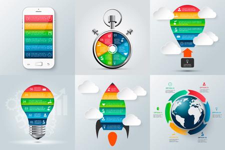 cronometro: teléfono móvil, cohete, cronómetro, bombilla y otros elementos para la infografía. Plantilla de diagrama, gráfico, presentación y gráfico. Concepto de negocio con 6 opciones, partes, etapas o procesos. Vectores
