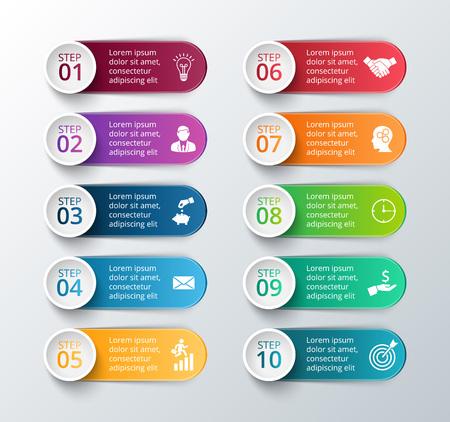 Element für Infografik. Vorlage für Diagramm, Grafik, Präsentation und Grafik. Business-Konzept mit 10 Optionen, Teile, Schritte oder Prozesse. Zusammenfassung Hintergrund. Standard-Bild - 47220912
