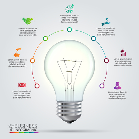 light bulb icon: light bulb with circle elements for infographic. Template for cycling diagram, graph, presentation and chart. Business concept with 7 options, parts, steps or processes. Abstract background