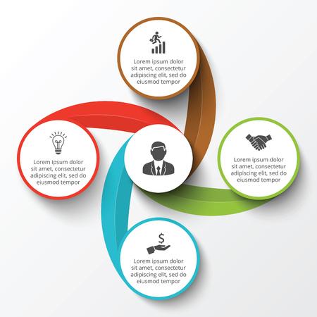 círculo infografía. Plantilla para el diagrama del ciclo, gráfico, la presentación y el gráfico ronda. Concepto de negocio con 4 opciones, partes, etapas o procesos. Visualización de datos.