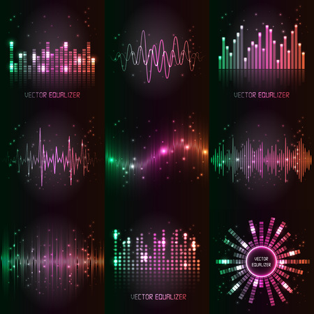 electronic background: sound waves set. Audio equalizer technology, pulse musical.