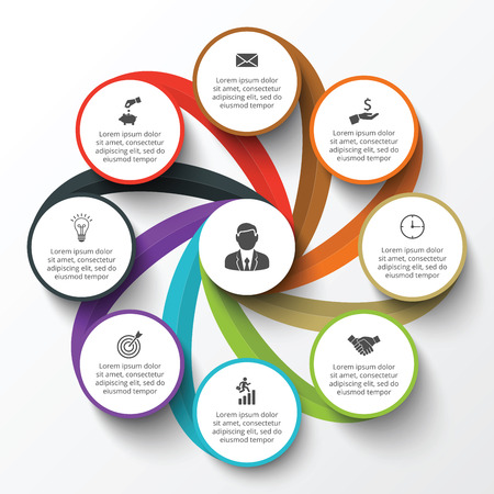 visualization: circle infographic. Template for cycle diagram, graph, presentation and round chart. Business concept with options, parts, steps or processes. Data visualization.