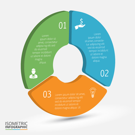 teamwork together: isometric circle element for infographic. Template for cycle diagram, graph, presentation and round chart. Business concept with 3 options, parts, steps or processes. Abstract background. Stock Photo