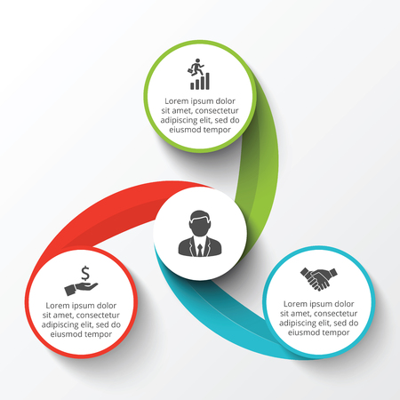 steps: circle infographic. Template for cycle diagram, graph, presentation and round chart. Business concept with 3 options, parts, steps or processes. Data visualization.