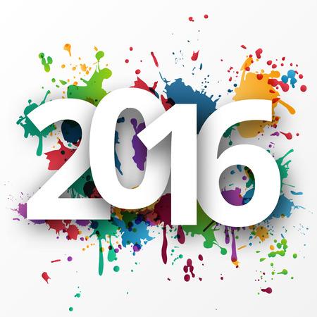 新年あけましておめでとうございますお祝いテンプレート背景がカラフルなスプレー式塗料に 2016年。